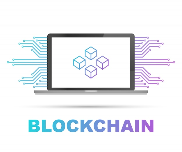 Blockchain  on laptop screen, connected cubes on the display. symbol of database, data center, cryptocurrency and blockchain Premium Vector