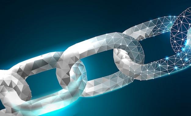 Цепочка blockchain link sign низкий поли дизайн сеть интернет-технологий Premium векторы