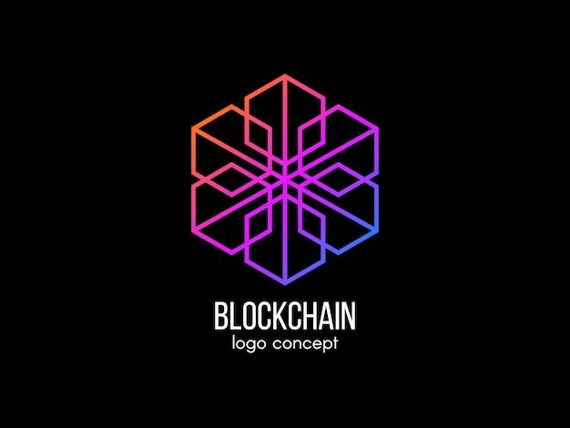 Концепция логотипа блокчейн. современные технологии . цветной логотип куба. криптовалюта и этикетка биткойнов. значок цифровых денег. иллюстрация. Premium векторы