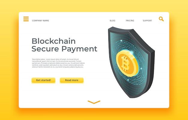 Blockchain secure payment landing page. isometric shield  web Premium Vector