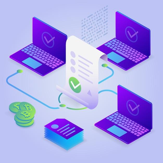 Блокчейн, умная концепция контракта. интернет бизнес с цифровой подписью. 3d изометрические иллюстрация. Premium векторы