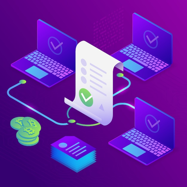 Blockchain, smart contract concept. online business with digital signature. 3d isometric Premium Vector
