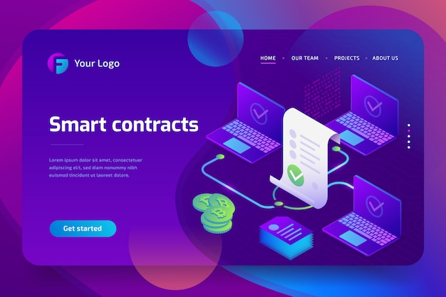 Blockchain, smart contract concept. online business with digital signature. isometric Premium Vector