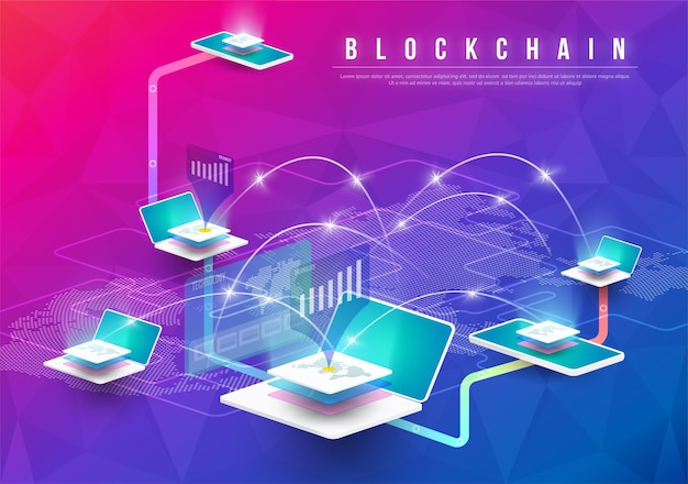 Blockchain technological elements future design Premium Vector