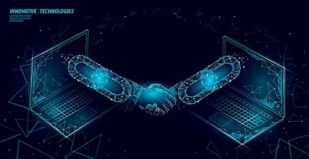 ブロックチェーン技術3dハンドシェイク。ビジネス金融契約契約の概念。成功のwebネットワーク低ポリバナーテンプレート。 Premiumベクター