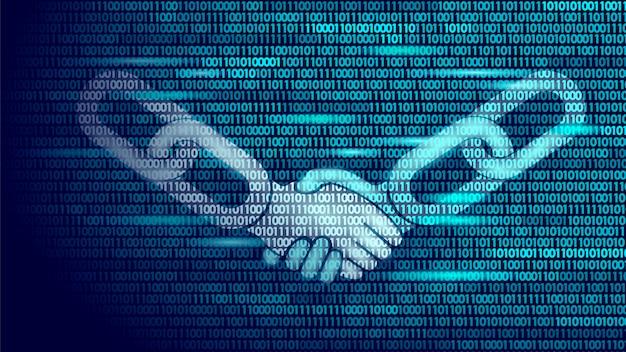 ブロックチェーン技術契約ハンドシェイクビジネスコンセプト低ポリ、 Premiumベクター