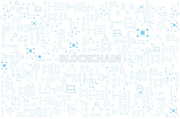 Blockchain technology colorful line round vector illustration on white background Premium Vector