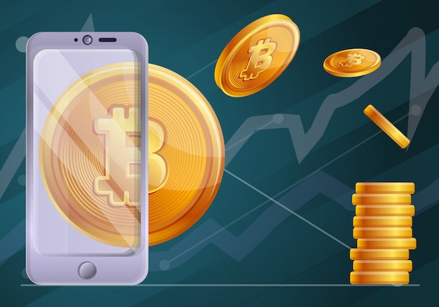 Blockchain technology concept illustration, cartoon style Premium Vector