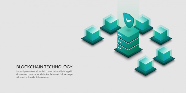 Blockchain technology concept, security data cryptography Premium Vector