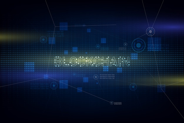 Blockchain technology on futuristic background with network Premium Vector