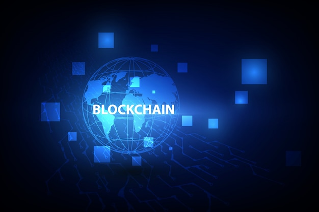 Blockchain technology on futuristic background with world map network. Premium Vector