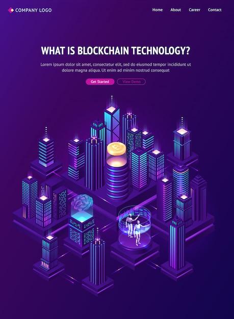 Pagina di destinazione isometrica con tecnologia blockchain. Vettore gratuito
