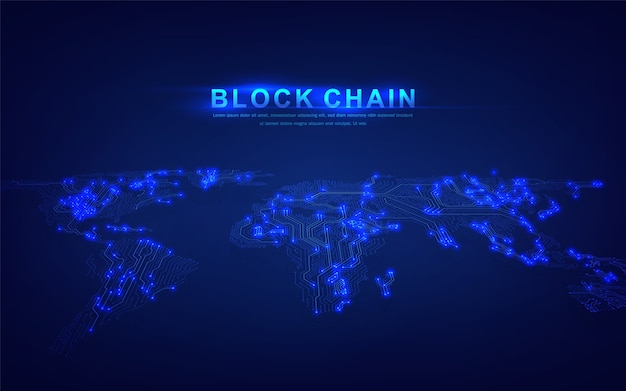 金融投資や暗号通貨トレンドビジネスに適したグローバル接続コンセプトのブロックチェーンテクノロジー Premiumベクター