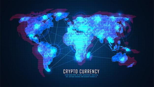 Технология блокчейн с концепцией глобального подключения, подходящая для финансовых вложений Premium векторы
