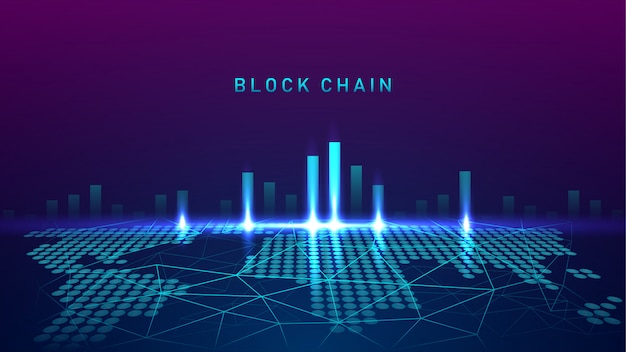 Blockchain technology with global connection concept test Premium Vector