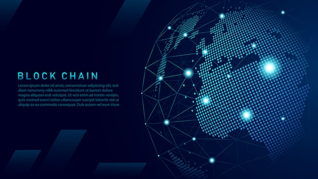 Blockchain technology with global connection concept Premium Vector