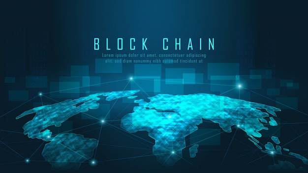 Blockchain technology with global connection Premium Vector