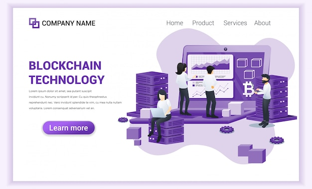 Blockchain technology  with people working on giant screen laptop. Premium Vector