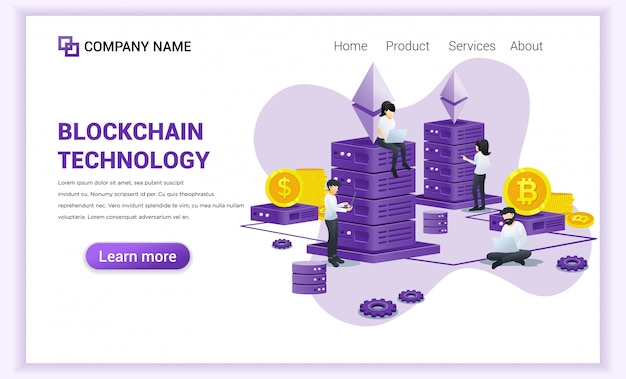 Blockchain technology  with people working on laptop and server. Premium Vector