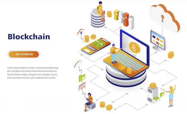 Blockchain современный плоский дизайн изометрической концепции Premium векторы