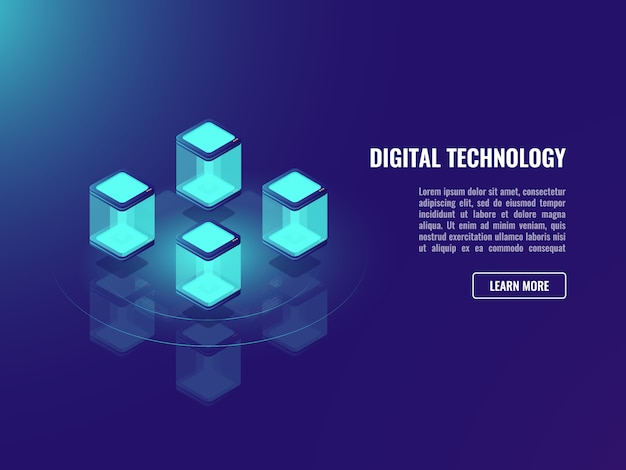 Blockhacin technology concept, data exchange, cloud information storage, Free Vector