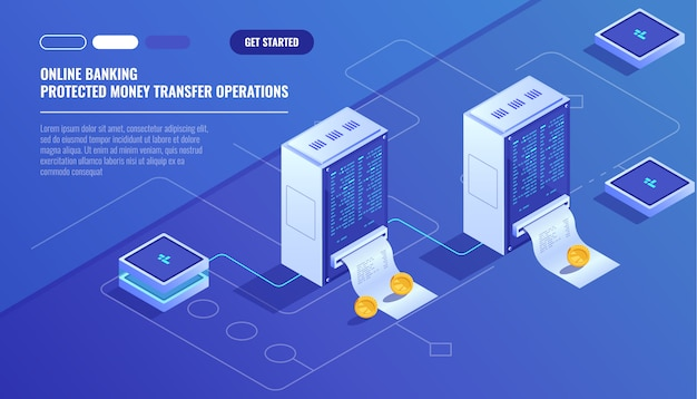 Blockhain scheme, mining crypto currency, server room, powered computers Free Vector