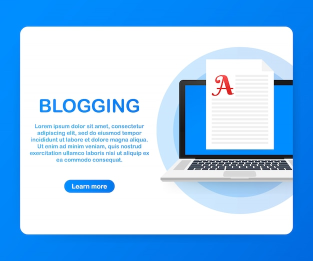 Blog content, blogging, post concept for web page, banner, presentation, social media, documents. . Premium Vector