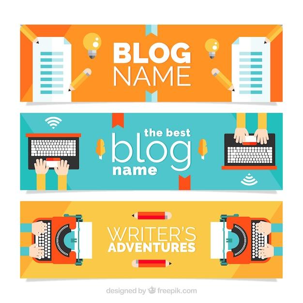 Blog headers in flat design Free Vector