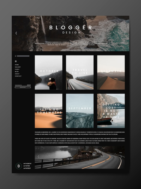Blog main page template Free Vector