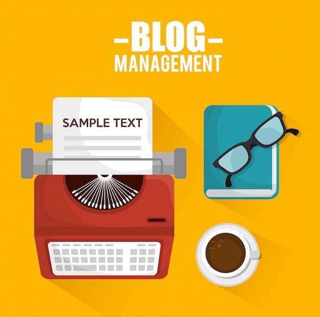 Blog management  design Premium Vector