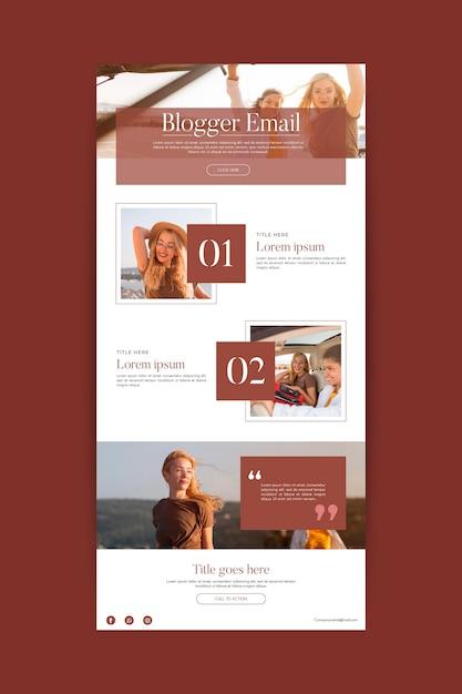 Modello di email di comunicazione di blogger Vettore gratuito