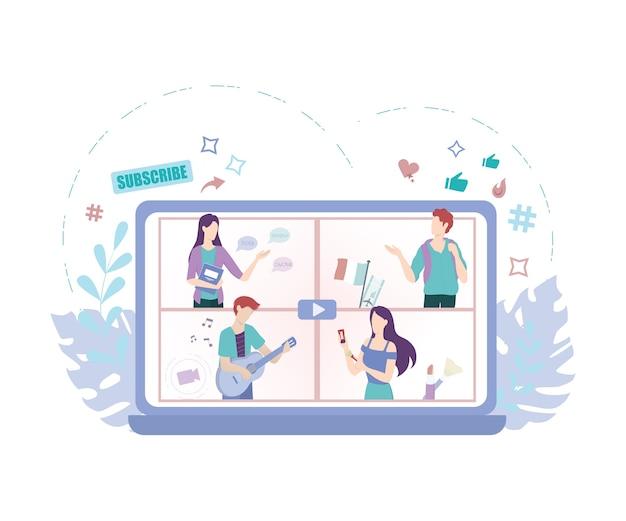 Blogger concept illustration. share content in the internet. Premium Vector