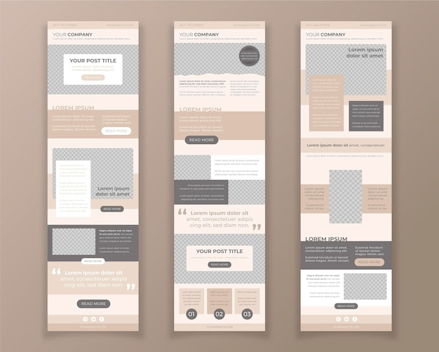 Blogger email template collection Premium Vector