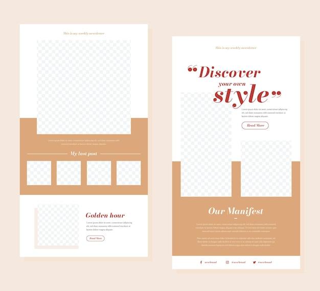 Set di modelli di email di blogger Vettore gratuito