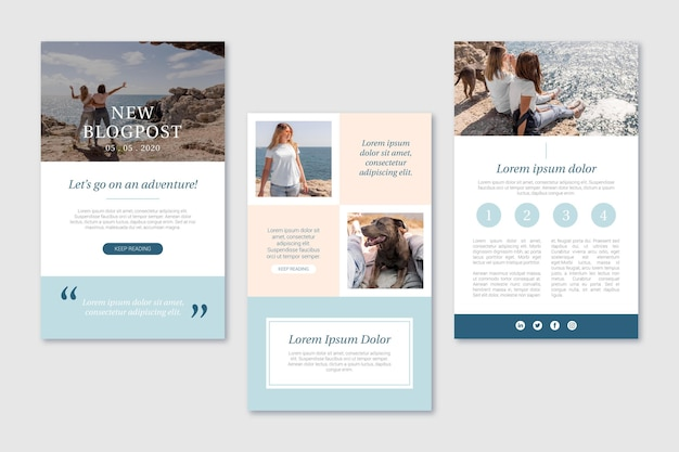 Blogger email template with photo Free Vector