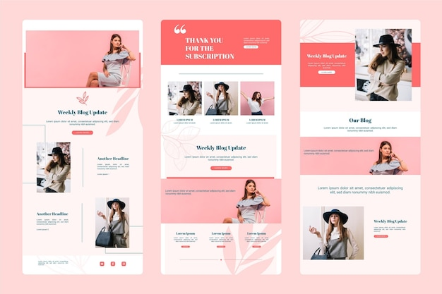 Blogger email template with photos set Free Vector