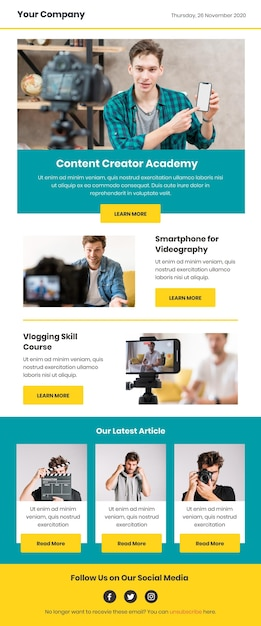 Blogger email template with photos Premium Vector