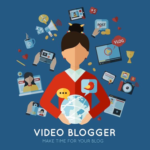 Blogger flat illustration Free Vector