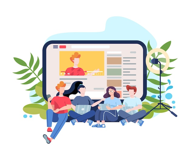 Blogger  . hare and watch content in the internet. idea of social media and network. online communication.    illustration Premium Vector
