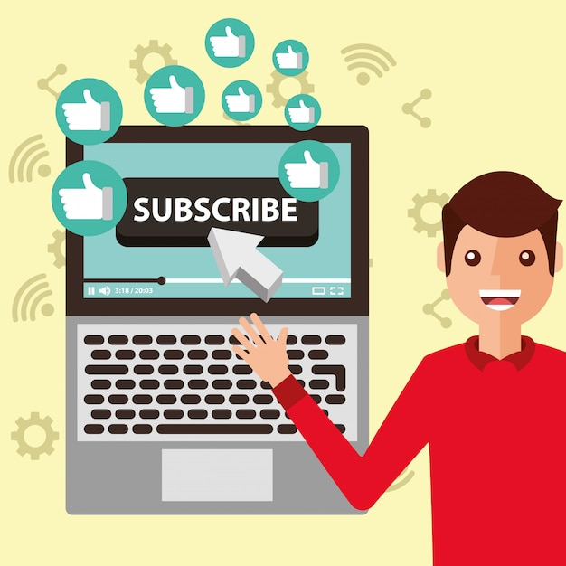 Blogger man pointing laptop subscribe likes Premium Vector