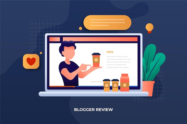 Blogger review on laptop Free Vector