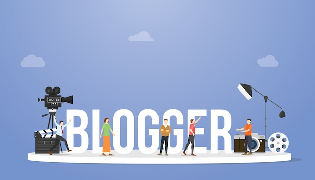 Blogger or vlogger concept with big text or word and professional people with some tools with modern flat style Premium Vector