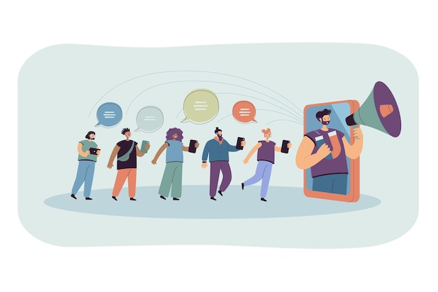 Blogger with loudspeaker influencing on audience in social media. flat illustration. Free Vector