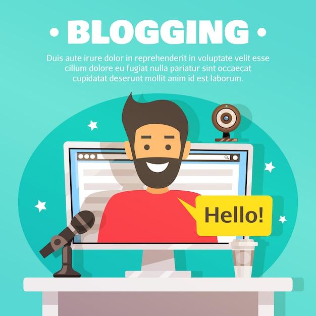 Blogger workspace background illustration Free Vector