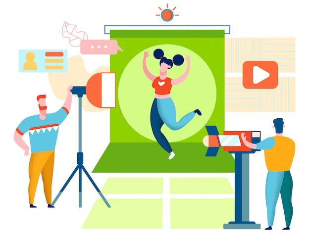 Фитнес blogger запись видео Premium векторы