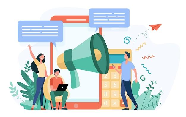추천을 광고하는 블로거. 뉴스를 알리는 가제트와 확성기를 가진 젊은이들이 타겟 청중을 끌어들입니다. 마케팅, 홍보, 커뮤니케이션을위한 벡터 일러스트 레이션 무료 벡터