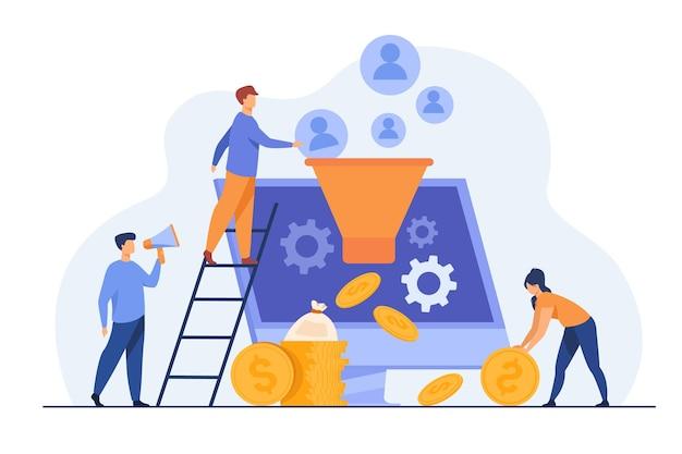 Блогеры привлекают аудиторию и получают деньги. инфлюенсеры генерируют новых потенциальных клиентов. иллюстрации шаржа Бесплатные векторы