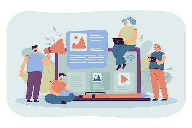 Blogger dan influencer menulis artikel dan memposting konten. ilustrasi kartun