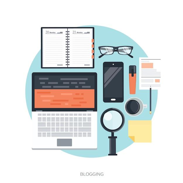 ブログとジャーナリズムの概念 Premiumベクター