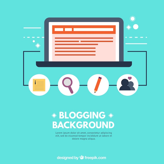 Blogging background with elements in flat design Free Vector